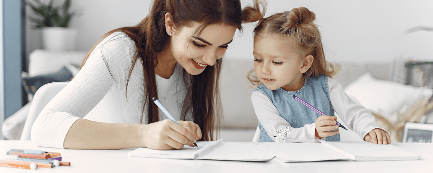 Apheleia Online Speech Therapy Child and Parent Practicing Writing Skills for Kids